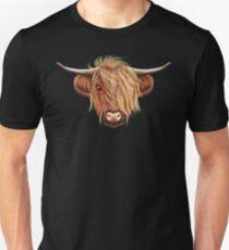 Illustrated portrait of Highland cattle.  Unisex T-Shirt