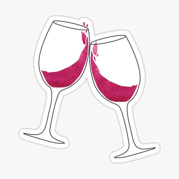 Clinking Wine Glasses Sticker