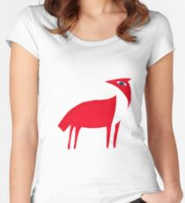 Fox pattern Women's Fitted Scoop T-Shirt