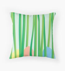 Easter Eggs in the Grass Throw Pillow