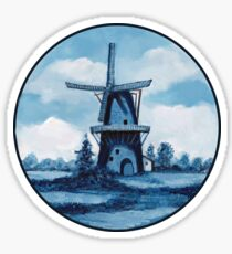 Delft Blue Dutch Windmill, Painting, Blue and White Sticker