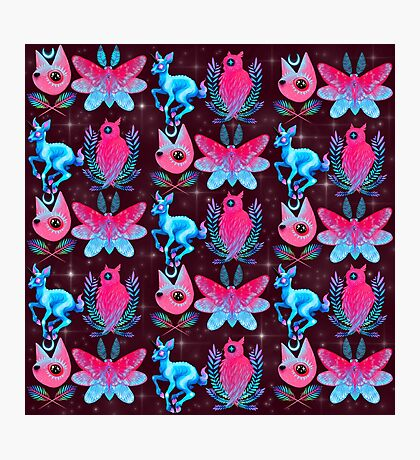 Cute Animal Pattern - Dark Pink  Photographic Print