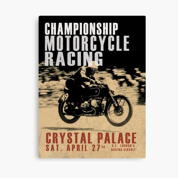 USA Antique Motorcycle Flat Track Raising Poster Print