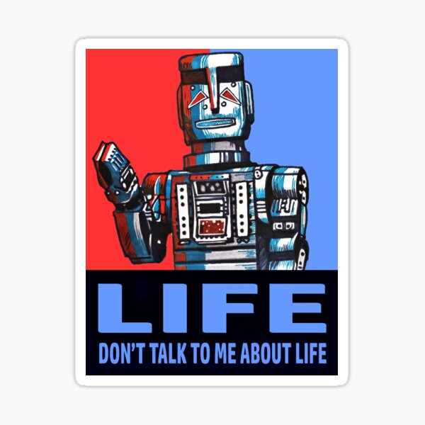 MARVIN THE PARANOID ANDROID - HITCHHIKERS GUIDE TO THE GALAXY Sticker