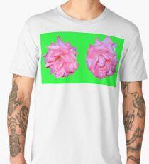 two roses, neon pink & green Men's Premium T-Shirt
