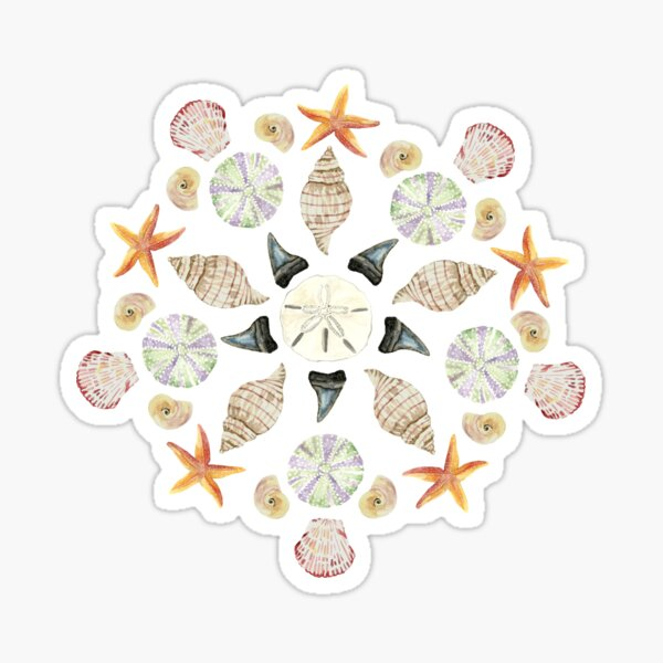 Florida Beachcombing Mandala 1 - Watercolor - Dark Blue Sticker