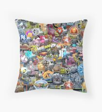 CSGO Sticker Collage Throw Pillow