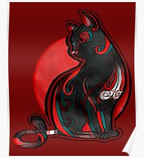 Artistic Abstract Black Cat with 3D effect Poster