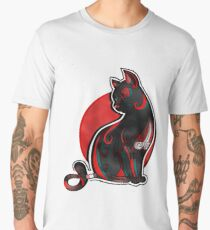 Artistic Abstract Black Cat with 3D effect Men's Premium T-Shirt
