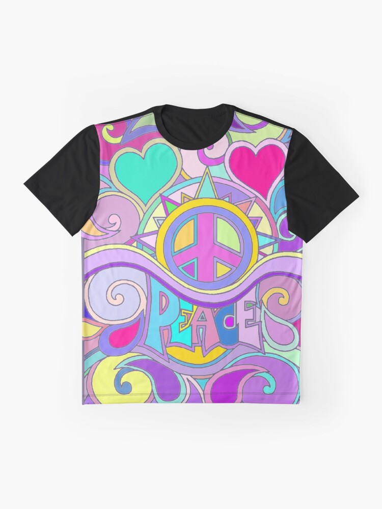 Alternate view of Psychedelic Hippy Retro Peace Art Graphic T-Shirt