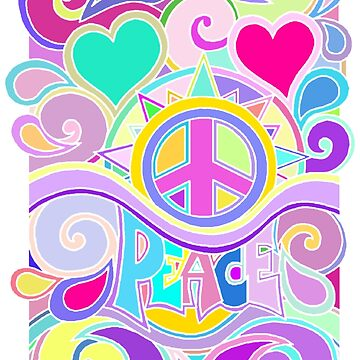 Psychedelic Hippy Retro Peace Art by Alondra