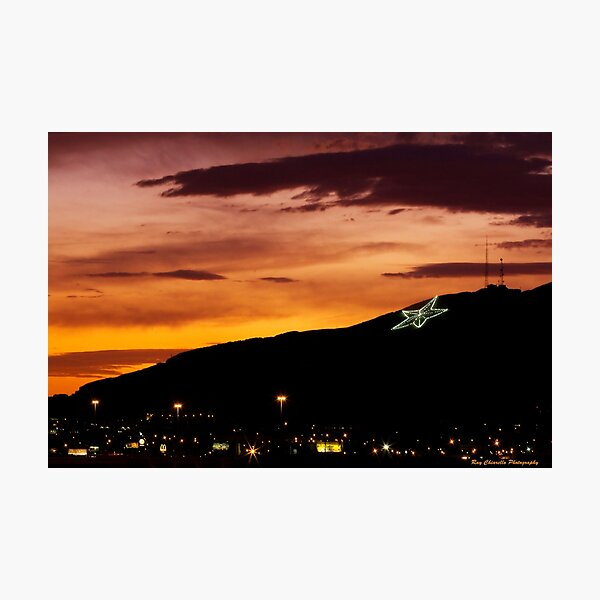 El Paso's Star on the Mountain Photographic Print