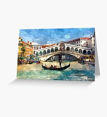 Colorful Venice Canal Grande Aquarelle Painting Greeting Card