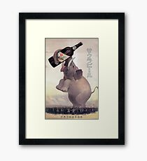 Vintage Japanese Beer Advertisement with Elephant Framed Print