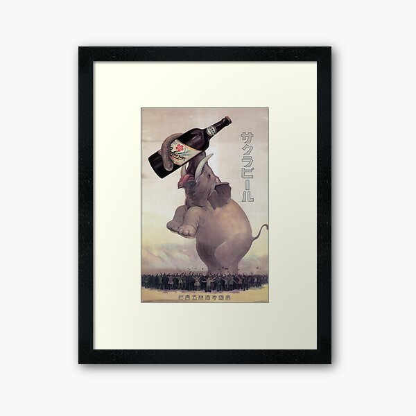 Vintage Japanese Beer Advertisement with Elephant Framed Art Print