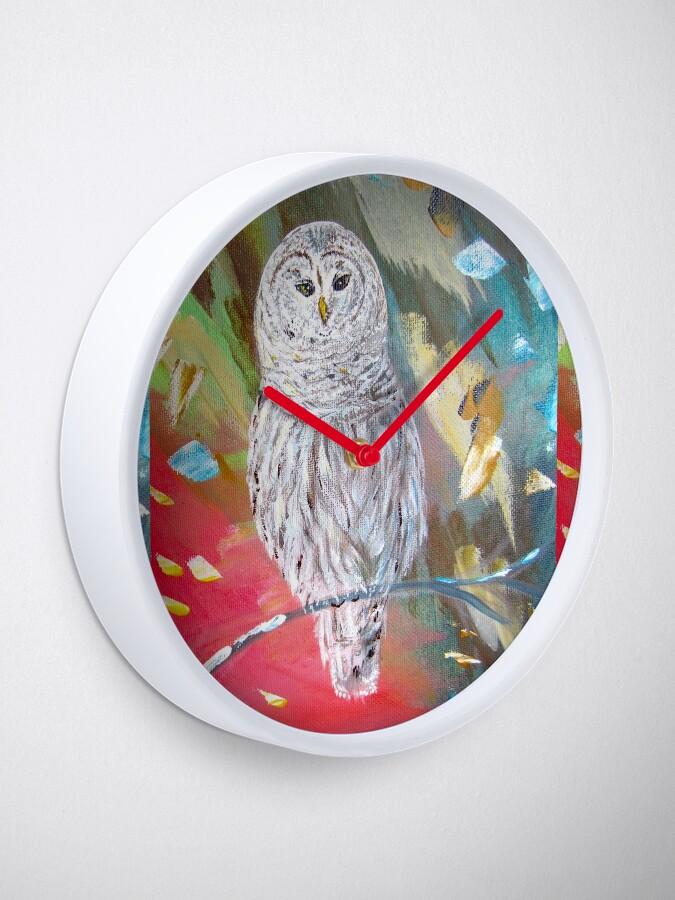 Alternate view of White owl. Xmas owl Clock