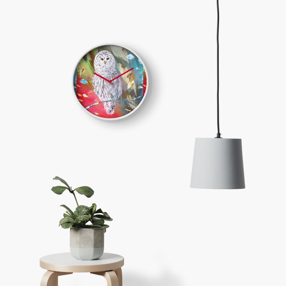 White owl. Xmas owl Clock
