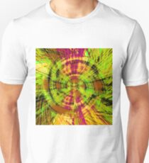 vintage psychedelic geometric abstract pattern in green brown pink T-Shirt