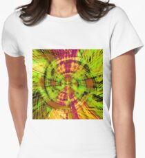 vintage psychedelic geometric abstract pattern in green brown pink Women's Fitted T-Shirt
