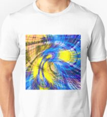 geometric psychedelic splash abstract pattern in blue and yellow T-Shirt