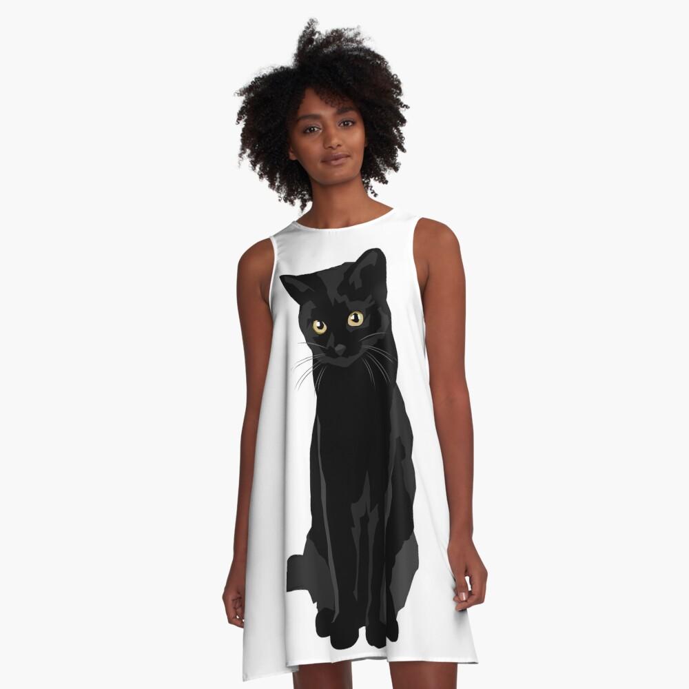 Gato negro Vestido acampanado