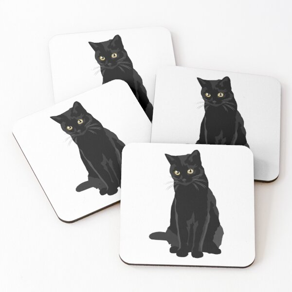 Black Cat Coasters (Set of 4)