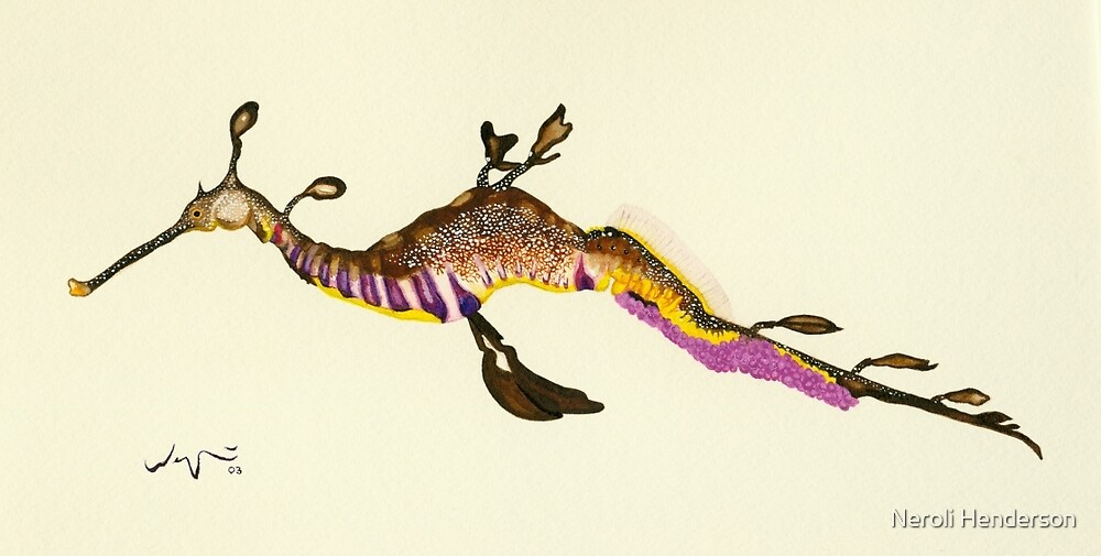 Weedy Sea Dragon Watercolour by Neroli Henderson