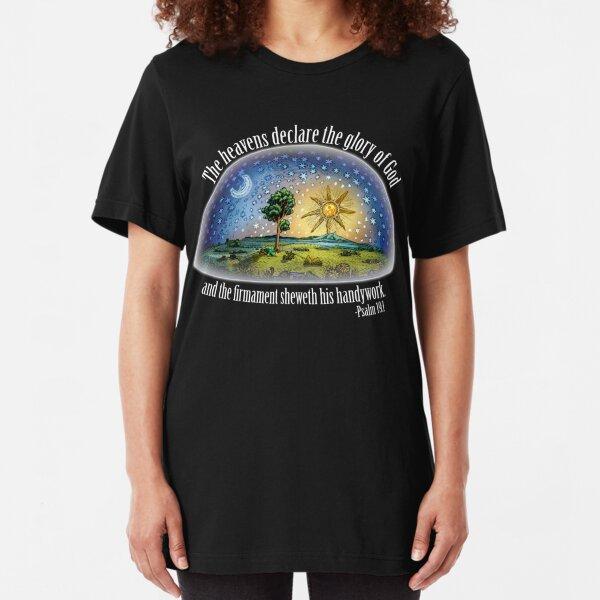 Flat Earth - Psalm 19:1 (The Firmament) Black Slim Fit T-Shirt