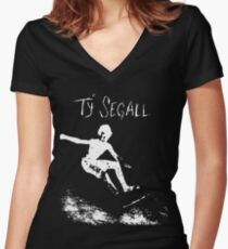 Ty Segall - White Women's Fitted V-Neck T-Shirt
