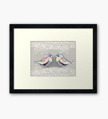 Exotic Silver Lovebirds Framed Print