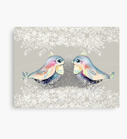 Exotic Silver Lovebirds Canvas Print