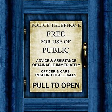 Free For Use Of Public - Vintage British Police Call Box Sign - New Crop  by Ra12