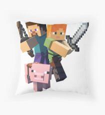 Minecraft- Alex, Pig, Steve Throw Pillow