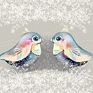 Exotic Silver Lovebirds by Karin Taylor