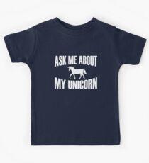Ask Me About My Unicorn T Shirt Kids Tee