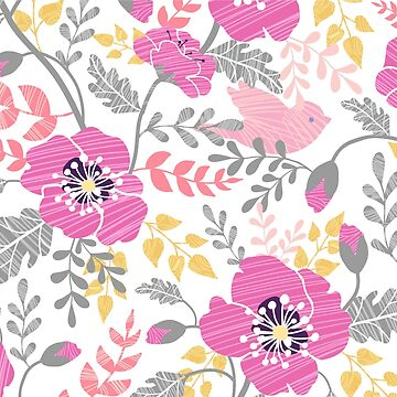 Pastel pink poppies pattern by oksancia