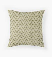 Soft Sage Green with Dark Chevron Imitation Toweling Throw Pillow