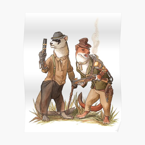 Steampunk Weasels Poster