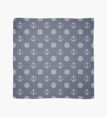 Gray Anchors and Sand Dollars on Blue Scarf