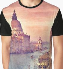 Chic Vintage Italy Venice Canal Pastel Watercolor Graphic T-Shirt