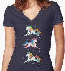 Rainbow Unicorns  Women's Fitted V-Neck T-Shirt