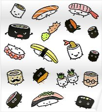 Sushi Characters Pattern Poster