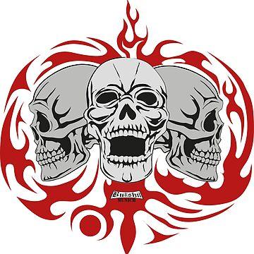 3 Skulls w. red Tribals von Exilant