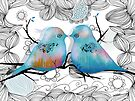 Turquoise Love Birds by Karin Taylor