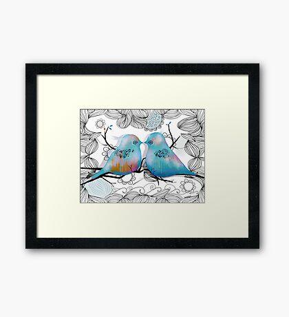 Turquoise Love Birds Framed Print
