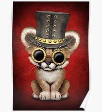 Steampunk Baby Cougar Cub on Red Poster