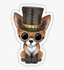 Steampunk Baby Red Fox on Blue Sticker