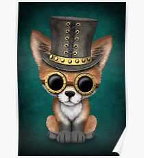 Steampunk Baby Red Fox on Blue Poster