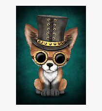 Steampunk Baby Red Fox on Blue Photographic Print