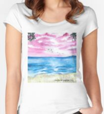 Pink sky sea scape    Women's Fitted Scoop T-Shirt